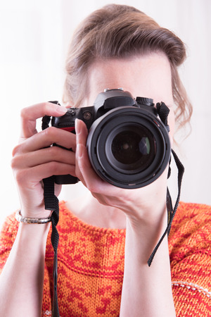 female photographer: Female Photographer at work Stock Photo