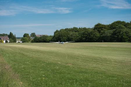 landed: glider just landed on grass