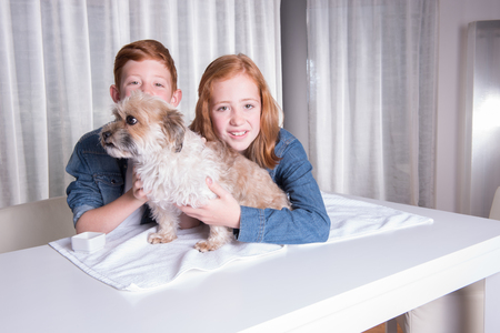 red hair girl: two happy children hugging their little dog