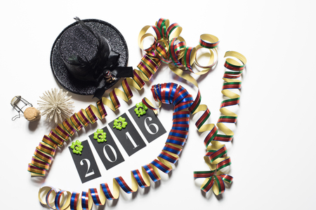 good wishes: conecpt for happy new year 2016 on white background