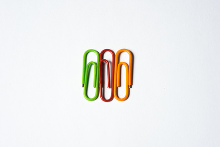 paper clips: colorful paper clips isolated on white Stock Photo
