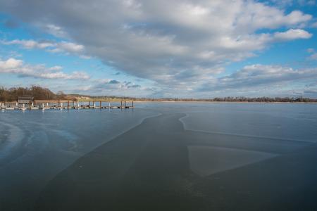 brige: new build wooden brige on frozen lake Chiemsee