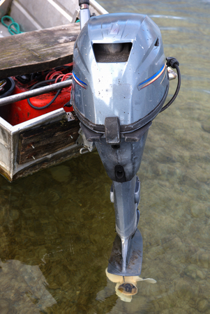 aluminium: outboard engine on a fisherboat made from aluminium