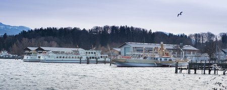 passenger ships: panorama view of lake chiemsee with passenger ships