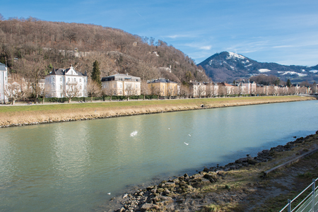 salzach: view in salzburg on river salzach and historic houses
