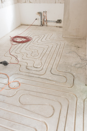 appartment: renovation of an appartment with new underfloor heating Stock Photo