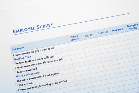 questionnaire about work and environment for employees