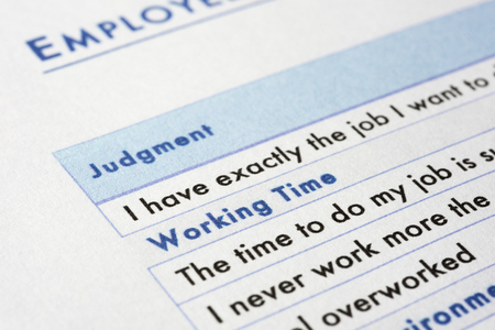 judgements: very near close up of employee survey