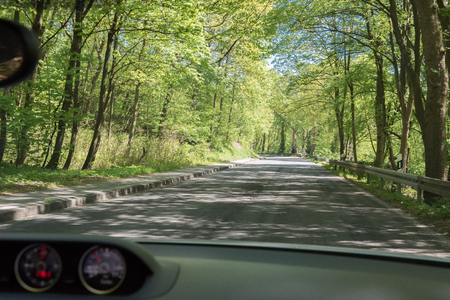 cruising: cruising with the convertible car on a country road Stock Photo