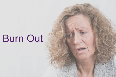 burn out: Portrait woman with depression and burn out Stock Photo