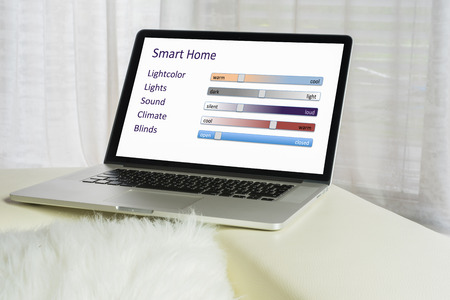backlit keyboard: Laptop with Smart Home App