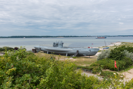 world war one: submarine from world war one on the beach of Laboe