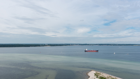 bird view: bird view in laboe west towards Kiel over the baltic sea