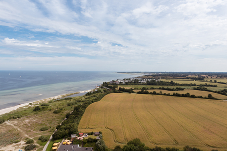 greem: bird view in laboe east over the baltic sea
