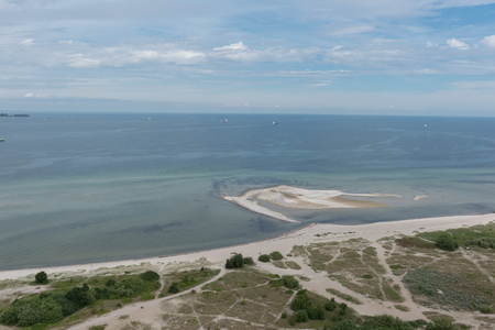 bird view: bird view in laboe east over the baltic sea