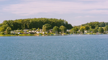 recreational area: recreational area, lake and forest, bevertalsperre in the evening sun