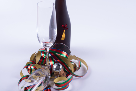 sylvester: sylvester card concept with bottle and glasses on white