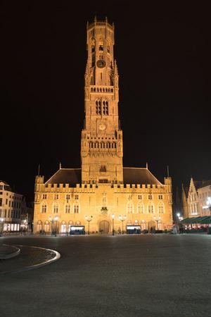 bruges: Night shot of the Belfry in Bruges, landmark Stock Photo