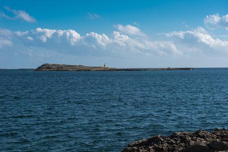 地中海で離島の灯台 写真素材