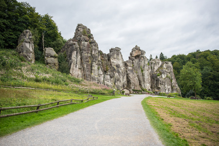 Externsteine in the footpath in the Teutoburger wood, North Rhine-Westphalia