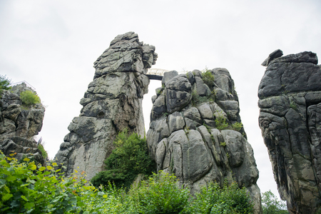 Externsteine at the hiking trail in the Teutoburg Forest, North Rhine-Westphalia