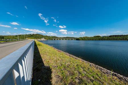 Wupper water reservoir in Remscheid with Fisheye in bright weather