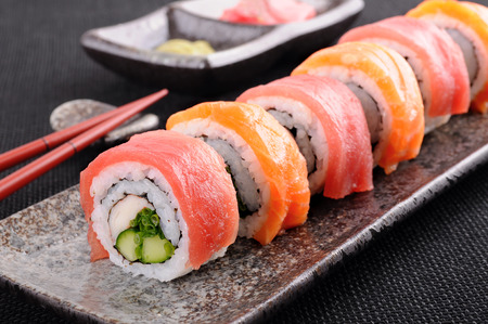 food fish: Salmon & tuna sushi roll on a plate