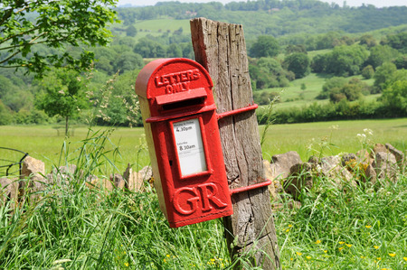 english letters: Mailbox in English countryside of Cotswolds
