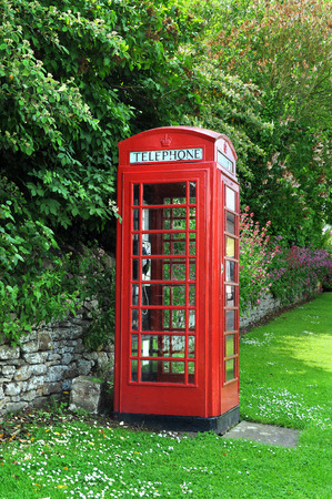 telephone booth: Telephone booth in English countryside Stock Photo