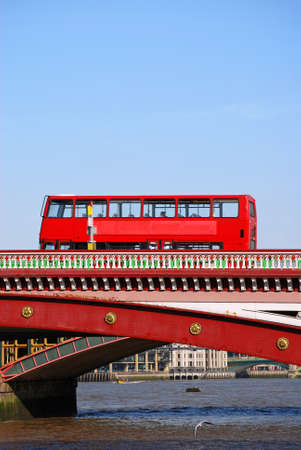 blackfriars bridge: Red double decker bus on Blackfriars bridge in London Stock Photo