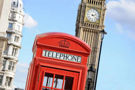 telephone box: Red telephone box and Big Ben in London Stock Photo