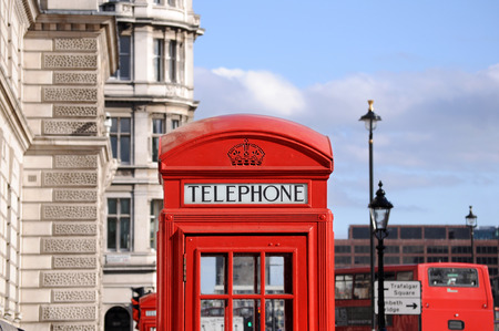telephone box: Red telephone box and double decker bus in London Stock Photo