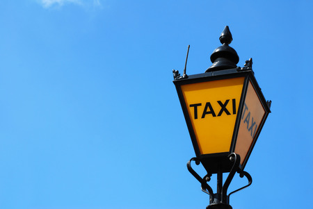 black cab: Old taxi lamp in London