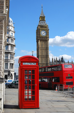 Big Ben, red telephone box and double decker bus in London Stock Photo