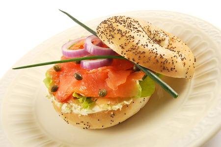 Smoked salmon with cream cheese bagel sandwich Stock fotó