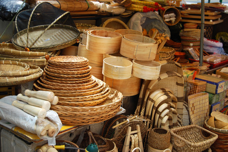 straw mat: Asian market of bamboo and wicker baskets