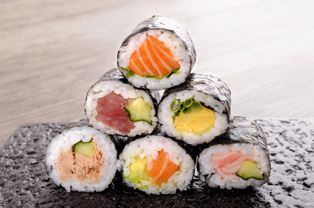 egg roll: Sushi roll : selection of assorted mini sushi roll