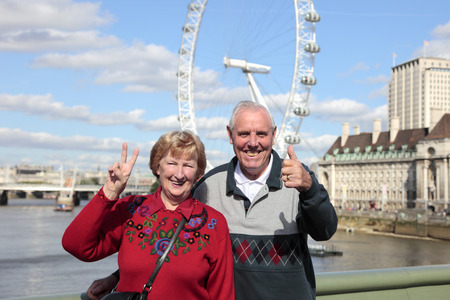 Senior couple in London with Millenium wheel in the background photo