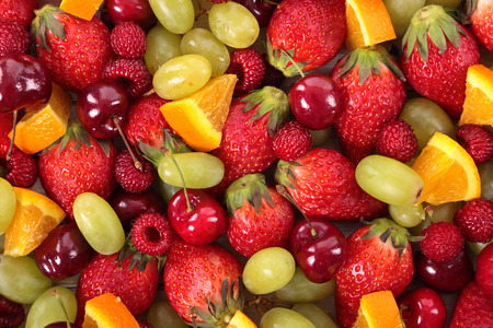 Mixed summer fruits closeup