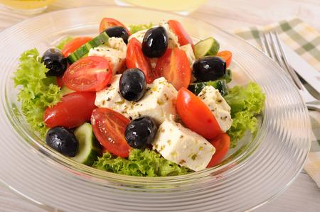 glass bowl: Greek salad in glass bowl