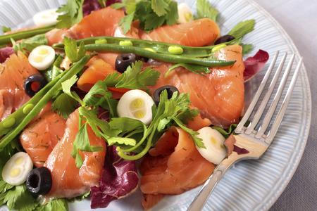 salmon ahumado: Ensalada de salmón ahumado con frijoles primer plano