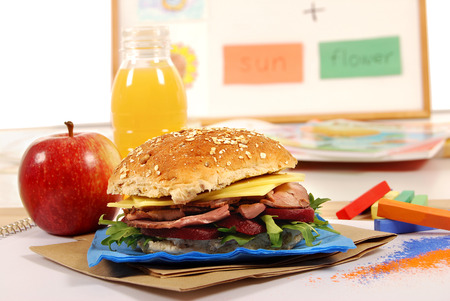 School lunch of roast beef roll sandwich Stock Photo