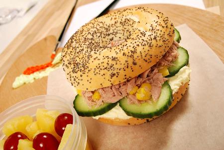 bagel: School lunch of tuna bagel sandwich Stock Photo
