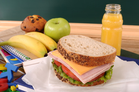 lunch table: School lunch on classroom desk