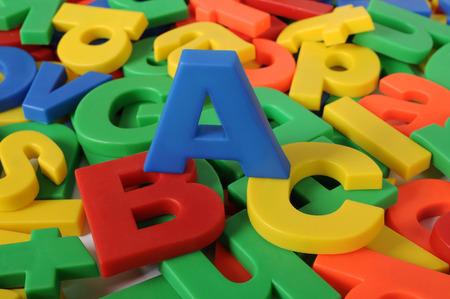 Plastic letters of alphabet Stock Photo