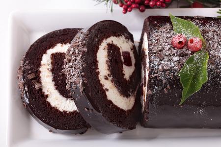 yule: Traditional Christmas cake Stock Photo