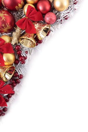 christmas decorations: Christmas border with traditional decorations. Space for copy.