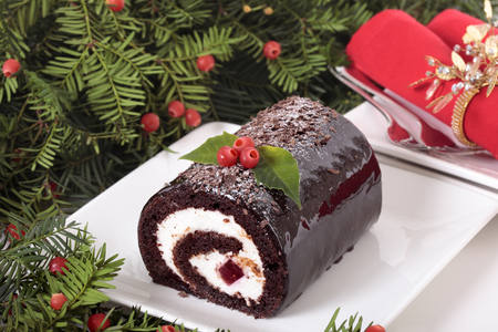 chocolate cake: Traditional Christmas cake Stock Photo