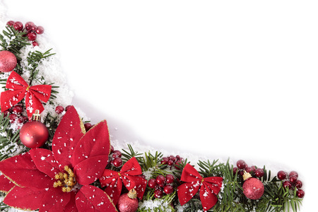 christmas isolated: Christmas border with traditional decorations. Space for copy.
