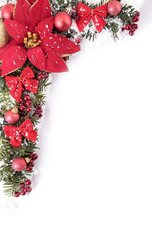 border: Christmas border with traditional decorations. Space for copy.